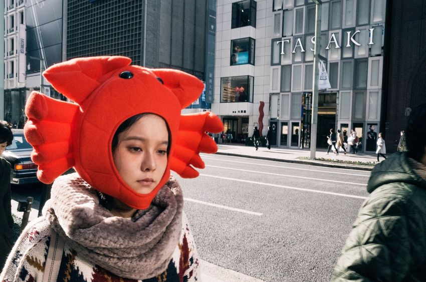 Real People One Person Red Outdoors Childhood Warm Clothing Standing Building Exterior Portrait Children Only Close-up Day People Human Body Part