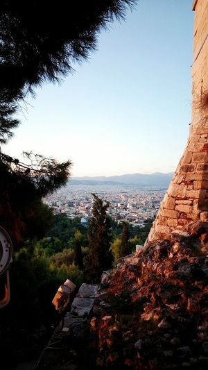 Golden Hour Sneak Peak City Above Cityscapes Stone Masonry Acropolis Walls Magic Hour Magic Light Clear Sky Shinny Athens Greece