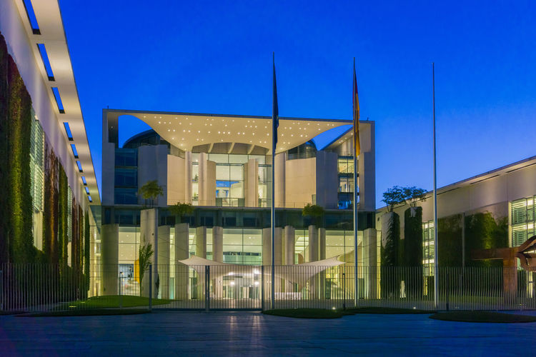 Chancellery at dusk in Berlin, Germany Architecture Berlin Building Exterior Built Structure Chancellery Chancellor's Office City Cityscape Color Image Day Dusk Germany🇩🇪 Horizontal Illuminated Modern No People Outdoors Photography Sky Travel Travel Destinations Tree Water