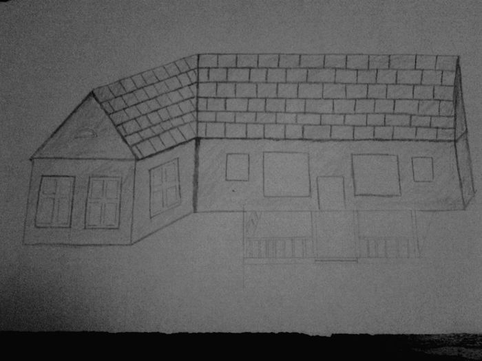 Almost done with it and all I have to do is finish the Windows and the door then do design the interior of it to tell what each room is what. Home Exterior Art, Drawing, Creativity House Drawing Black & White Sketch Home Design