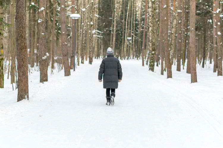 Rear View Of Person Walking On Snow Covered Landscape