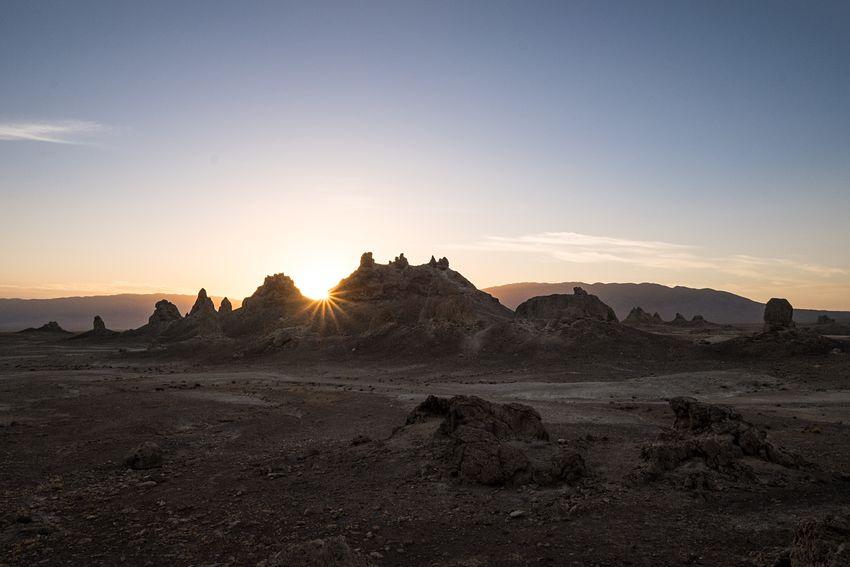 Sunrise at Trona Pinnacles. California Desert Trona Pinnacles Throwback