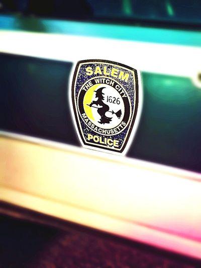 Salem PD patrol car Salem Witch Trials Salem Police Car Practical Magick ~ My Other Car Is A Broom Salem, Ma. Close-up
