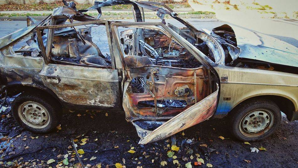 Abandoned Damaged No People Car Incident Criminal Street Terror Terrorist Attack Danger Dangerous Destroyed Ruined Arson  Burned Out Burned Metallic Metall Transportation Bang Textured  Blown Up Exploded Car Exploding Abstract