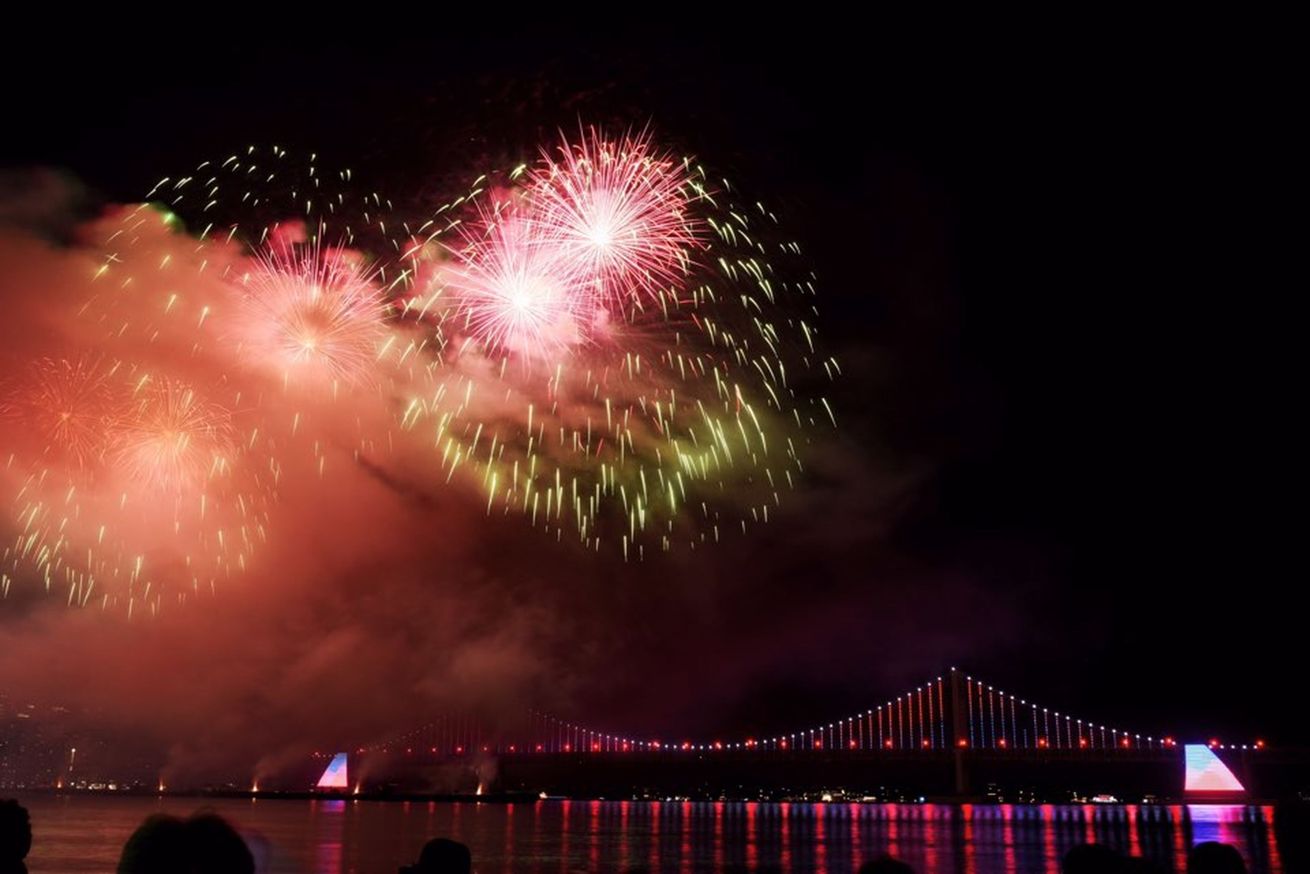 firework, firework display, night, celebration, illuminated, motion, arts culture and entertainment, exploding, event, sky, firework - man made object, long exposure, nature, architecture, water, no people, smoke - physical structure, multi colored, bridge, blurred motion, outdoors, new year's eve, sparks, explosive