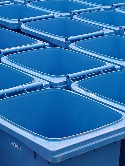 Regulation blue bins Bins Wheely Bins Open Empty Industry Blue Full Frame Abundance