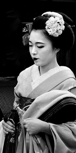 Kyoto Gion Black And White Japan One Person Maiko Adults Only Beauty Traditional Clothing