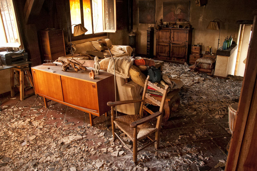After The Fire Burned Damaged Architecture Abandoned Architecture Bad Condition Burned Items Burned Objects Burned Stuff Cabinet Chair Damaged Damaged Building Damaged By Fire Damaged By Smoke Damaged Stuff Dirt Domestic Room Furniture Home Interior House Indoors  Messy No People Seat