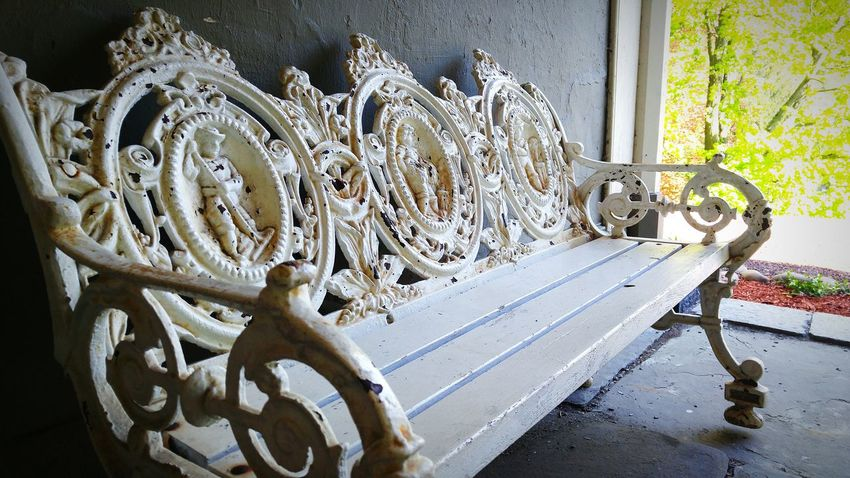 Victorian Bench Historic JimThorpePA Mansion Simple Photography Clean Shot Industrial Photography Chairs Outside Close-up Architecture
