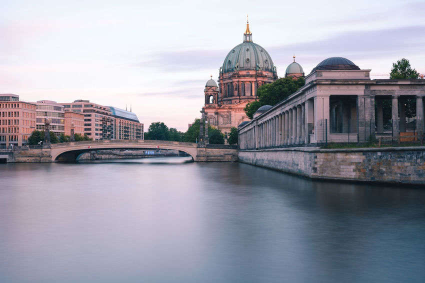 Berlin Cathedral at sunset Berlin Berlin Cathedral Berlin Mitte Berliner Dom Copy Space Spree River Berlin Arch Bridge Architecture Belief Bridge Bridge - Man Made Structure Building Building Exterior Built Structure City Connection Dome Government Museum Island Berlin No People Outdoors Place Of Worship Religion River Sky Summer In Berlin Sunset In Berlin Travel Travel Destination Travel Destinations Water Waterfront