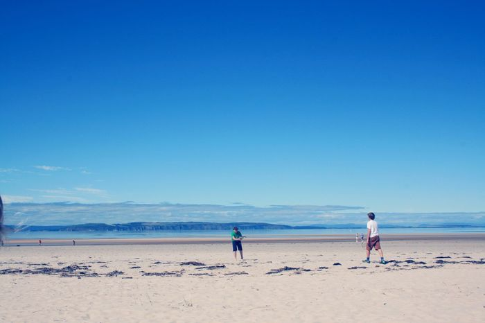 My boys! Blue Sky Beachphotography Beach Sea And Sky Summertime Nairn Scotland MyBoys Coast Holiday