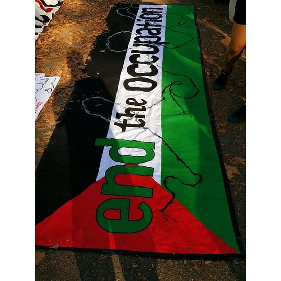 Great banner someone made for the March For Palestine over the Brooklyn Bridge Nyc2gaza Freegaza