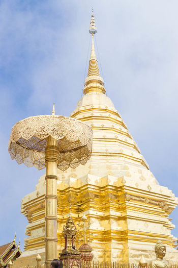 Wat Phra That Doi Suthep Ratchawarawihan , Thailand Ancient Architecture Cultures Day Gold Gold Colored No People Outdoors Pagoda Place Of Worship Religion Sky Spirituality Statue Temple Temple - Building Thailand Thailand_allshots
