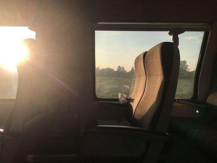 Sun shining through car window
