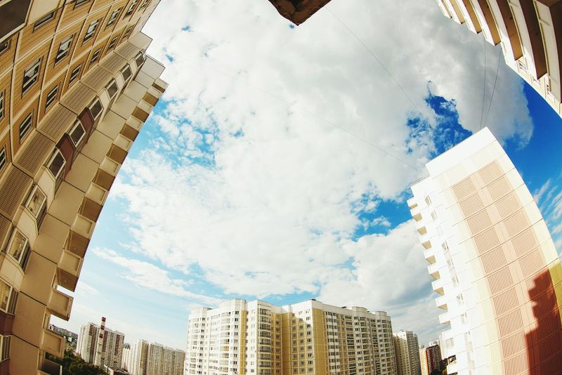 Fisheye Sky Sunny Day build Low Angle View Daylight Built Structure Sky And Clouds