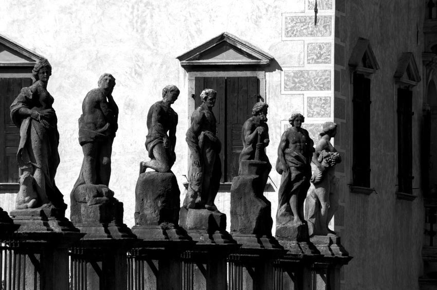 Agordo, Italy Architecture Art And Craft Black & White Black And White Blackandwhite Built Structure City Day Dolomiti History Human Representation No People Outdoors Sculpture Statue Street Travel Destinations Urban Urban Exploration Urban Geometry Urban Landscape