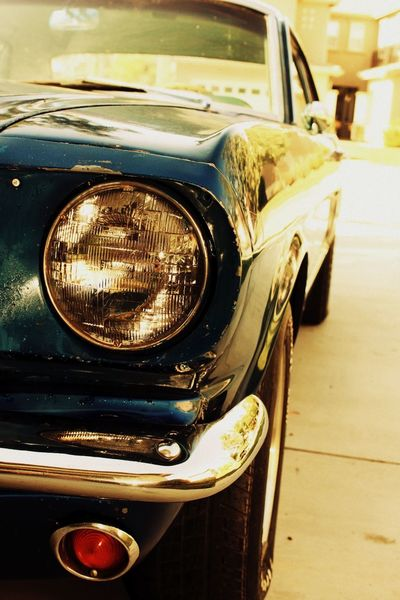 What a babe 1965mustang Mustang EyeEmNewHere Car Motor Vehicle Mode Of Transportation Transportation Land Vehicle Headlight Close-up Retro Styled Metal No People Vintage Car Stationary Day