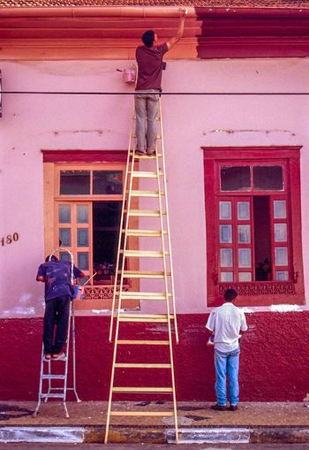 Painting Ladder Pink Windows Working