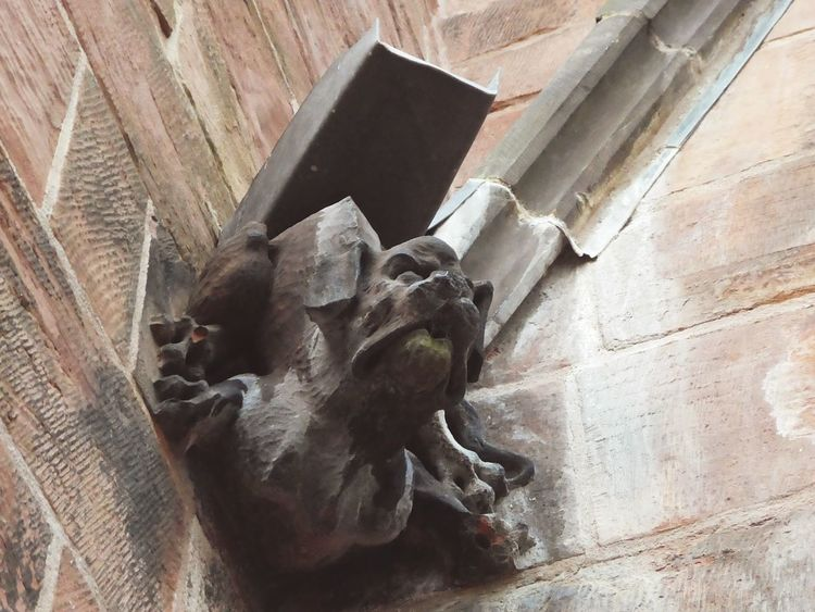 Gargoyle Gargoyle 2 Sculpture Historical Architecture Built 1123 Medieval Church Gothic Architecture Carlislecathedral Ancient Red Sandstone Stone Carving Close-up Heritage Site Lead Water Channel Water Spout Low Angle View No People Architecture Ancient Carving Marks