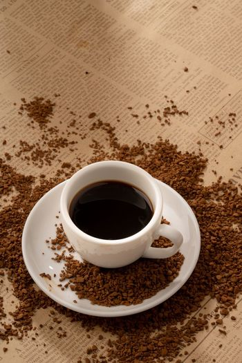 Granules Coffee Powder Coffee Granules Powder Food And Drink Drink Refreshment Cup Mug Coffee - Drink Coffee Saucer Coffee Cup Crockery Freshness Table Food Indoors  High Angle View Still Life Hot Drink Black Coffee Close-up