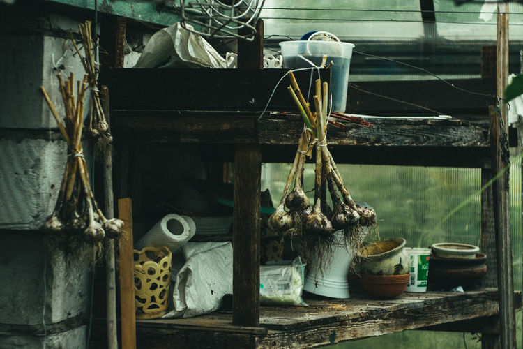 Various objects on table