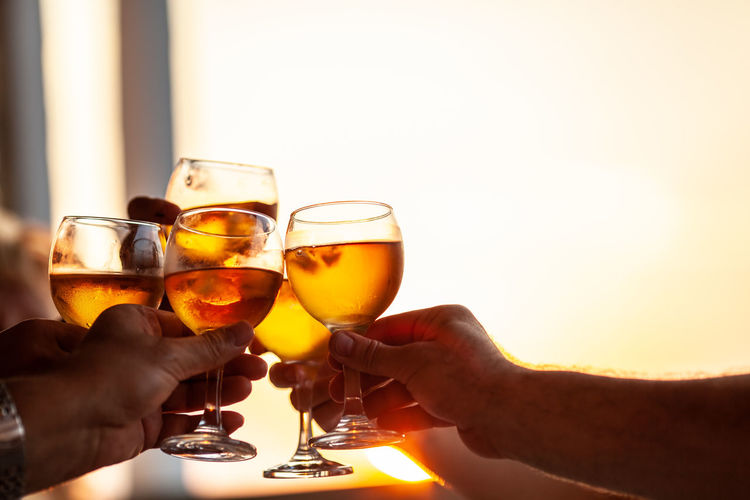 Wine Toast Glass Clink Raise Party Celebrate Friend Family Drink Alcohol People Wineglass Sunset Hand Restaurant Clang Holiday Sunlight Event Group Together Light Evening Beverage Body Part No Face Close-up Horizontal