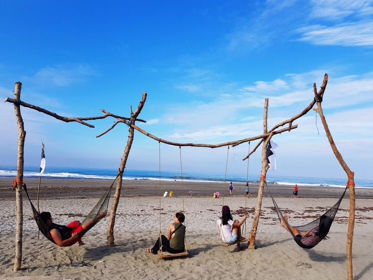 Summer Exploratorium Sand Beach Sky Land Sea Water Cloud - Sky Nature Real People Group Of People Beauty In Nature Day Leisure Activity Lifestyles People Vacations Holiday Horizon Over Water Men Outdoors