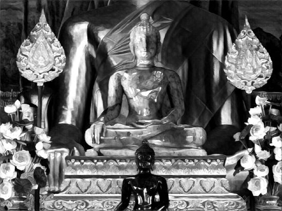 Buddha Illustration Buddhas Black Buddhas Black Colored Grey Buddha Buddha Statues Buddhas, Buddha Flowers Human Representations Idols One Two Three Religion Representation Spirituality Statues Verticality Edited Photography Effect And Filter Black And White Thailand