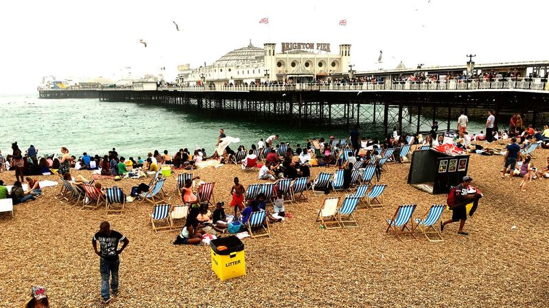 Brighton Brighton Pier Sea Beach Pebbles Deck Chairs People Summer Summertime