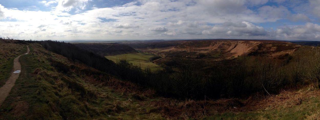 Horcum Dyke Ancient Monument Erosion Erosion Control Yorkshire North Yorkshire Pickering Scenic Scenic View Panorama Panoramic Panoramic View Clouds Trees Nature