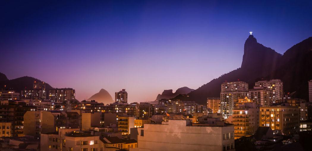Blue Hour Clear Sky Cristo Redentor Rio De Janeiro Skyline Building Exterior City Lights No People Sunset
