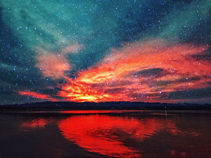 Beauty In Nature Nature Tranquility Tranquil Scene Scenics No People Waterfront Star - Space Water Sky Red Outdoors Night Galaxy Astronomy Nature Beauty In Nature Sunset