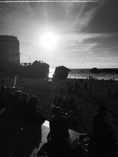 On my way to 14 Julliete festival Biarritz Beach Biarritz Bigfestival Blackandwhite Crowd France Nature Outdoors Real People Sea Sky Sunlight Surf First Eyeem Photo EyeEmNewHere EyeEmNewInHere