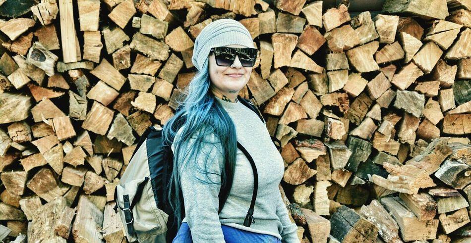 That's Me Hello World Explore Nature BlueHair Necktattoo Big Glasses Hiking Adventure Enjoying Life Backpacking