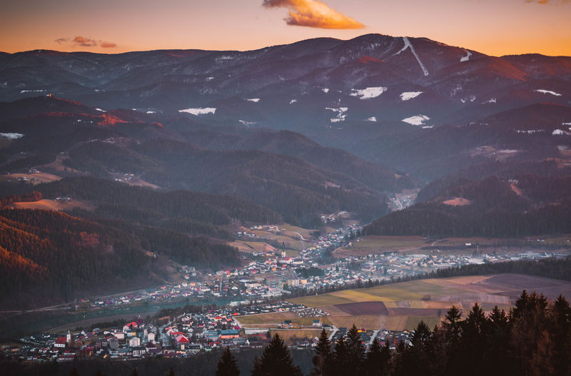 View from Muta, Slovenia Atmospheric Mood Beauty In Nature Geology Hill Koroška Landscape Light Majestic Mountain Mountain Range Nature Non-urban Scene Outdoors Physical Geography Power In Nature Remote Scenics Slovenia Sunset Tranquil Scene Tranquility Valley View