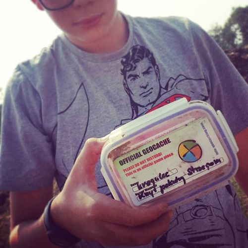 Our first geocache box found ! Yupiiiii ! Geocaching Kidsgrowuptoofast Treasurehunting Funtimes Geocache Geocachepoland