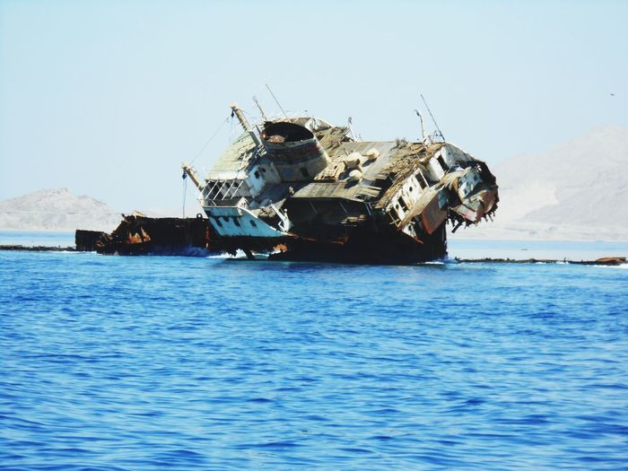 sunken boat Sea Water Damaged Sunken Abandoned Sinking Destruction Nature EyeEmNewHere