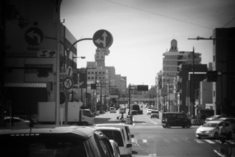 Black And White Holgalens City Multiple Image Stoplight Road Cityscape Car Land Vehicle Street Road Sign City Life