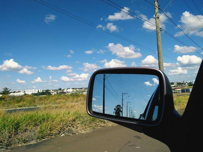 Far behind Roads Reflections Brazil Bluesky Peace Driving Clouds Car Sky Cloud - Sky Travel Side-view Mirror Vehicle Mirror Vehicle Mirror