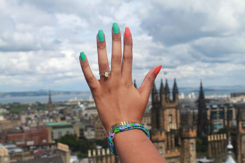 Cropped Engagement Enjoyment Femininity Scotland Fun Holiday Holiday POV Human Body Part Human Finger Human Hand Leisure Activity Lifestyles Nails Nails Done Real People Ring RISK Sensuality Women Young Adult Young Women IAmGSPhotography Peace
