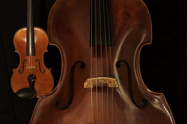 Close-Up Of Violin Against Black Background