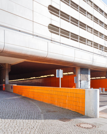 Architecture Built Structure Building Exterior No People Footpath City Orange Color Outdoors Building Transportation Street Day Staircase Architectural Column Empty Glass - Material Tile In A Row Wall - Building Feature Ceiling Parking Garage