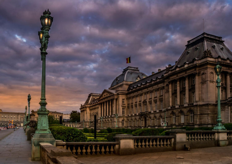 Architecture Belgium Brussel Brussels Building Exterior Dramatic Lighting Dramatic Sky Royal Palace Street Light Sunset Royal Palace Brussels Royal Palace