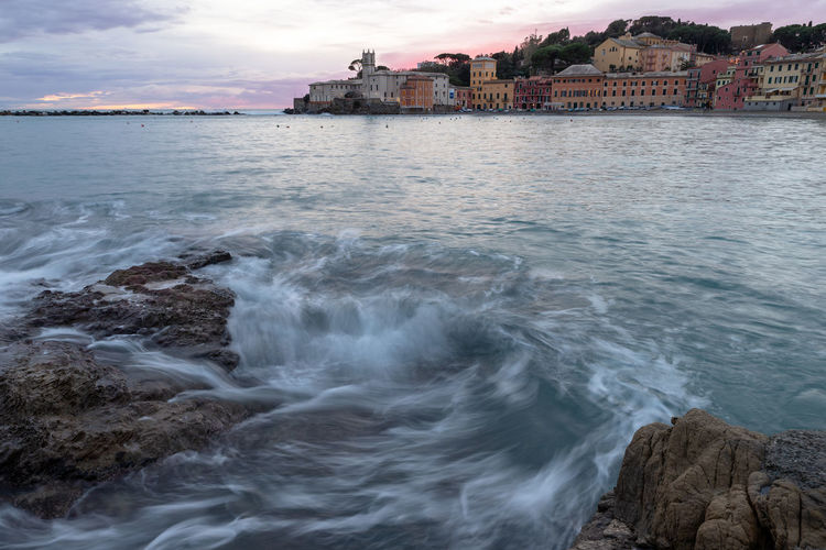 Baia del Silenzio Water Architecture Built Structure Building Exterior Sea Nature Motion Cloud - Sky Sky City No People Land Beach Building Beauty In Nature Outdoors Scenics - Nature Day Sestri Levante Italy Liguria Mediterranean  Long Exposure Wave Reflection