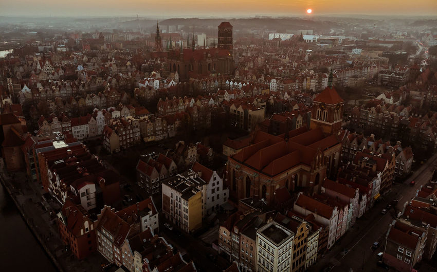 Gdansk Old Town Building Exterior Architecture Built Structure Cityscape City High Angle View Crowded Building Aerial View Community Outdoors City Life Skyscraper Travel Destinations Crowd Gdansk Poland Architecture Sunset