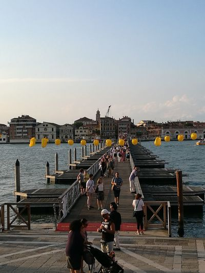 No Filters Or Effects HuaweiP9 Yellow Balloons Profile Of The City Ponte Di Barche Redentore 2018 Water City Walking Sky Venetian Lagoon Venice - Italy