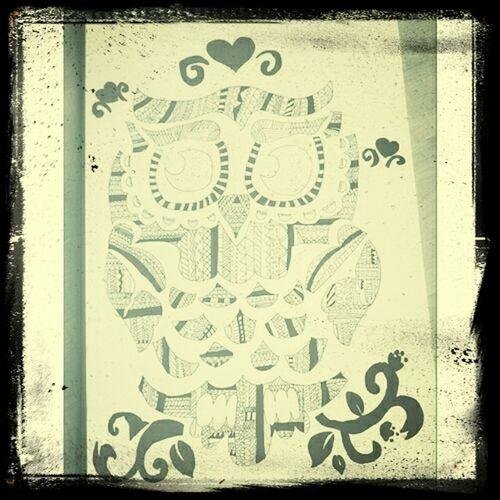 Drawing Hiboux Cute♡ Love 1er dessin à la plume ! ✌ First Eyeem Photo
