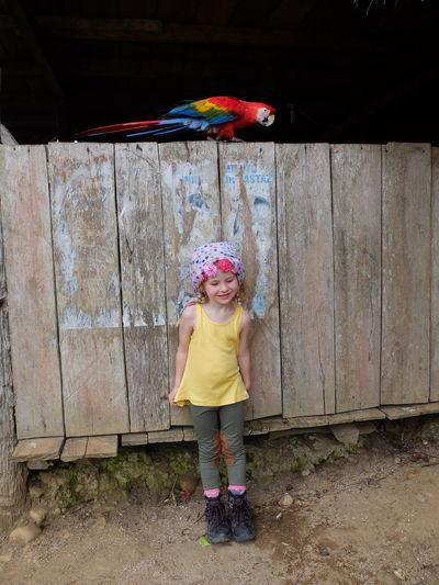 Full length of girl standing against wooden fence