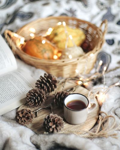Christmas Indoors  Food And Drink No People Drink Christmas Decoration Autumn Mood Pumpkin Pumpkins Pumpkin Plant Autumn Autumn Colors Winter Home Decor Home Sweet Home Stilllifephoto Still Life Photography StillLifeArt Decoration Textile Déco Home Interior Cosy Place Bedroom Indoors
