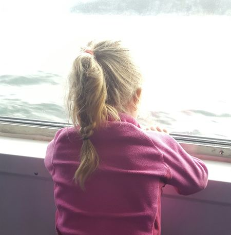 Littlegirl Holiday Is Over Pigtail Sea Sunlight Watching The Sea Pink Jacket Back Girl Messy Hair